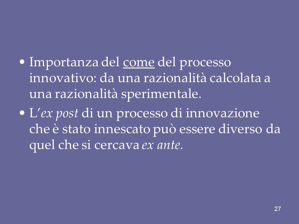 Importanza del come del processo innovativo: da una razionalità calcolata a una razionalità sperimentale.