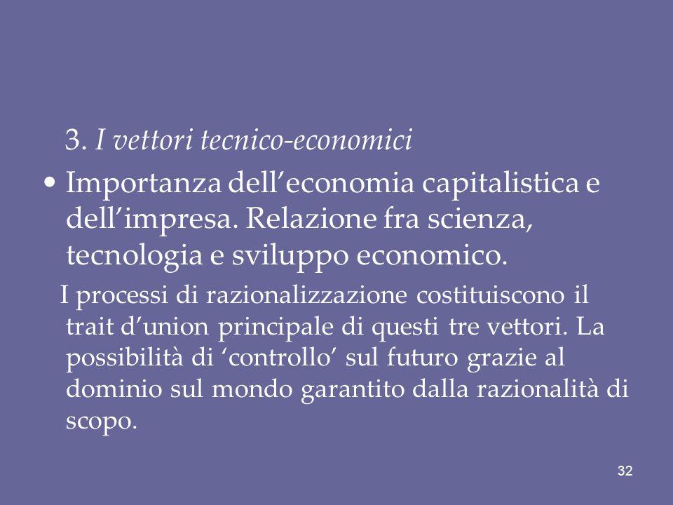 3. I vettori tecnico-economici