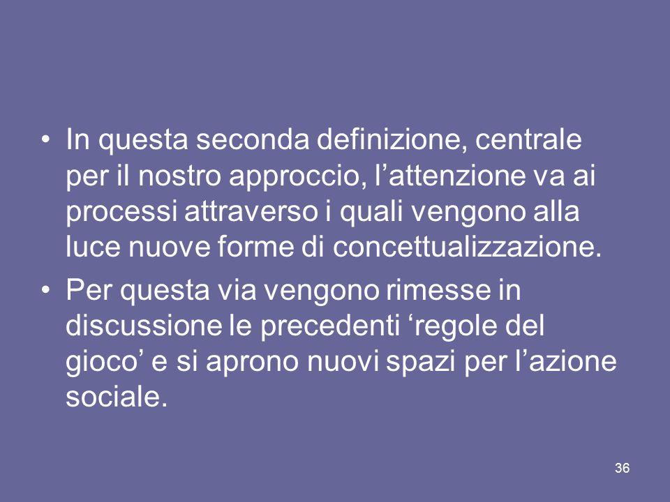 In questa seconda definizione, centrale per il nostro approccio, l'attenzione va ai processi attraverso i quali vengono alla luce nuove forme di concettualizzazione.