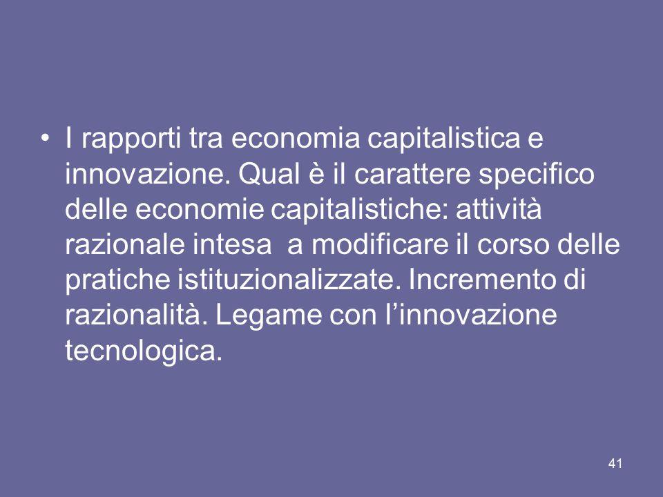 I rapporti tra economia capitalistica e innovazione