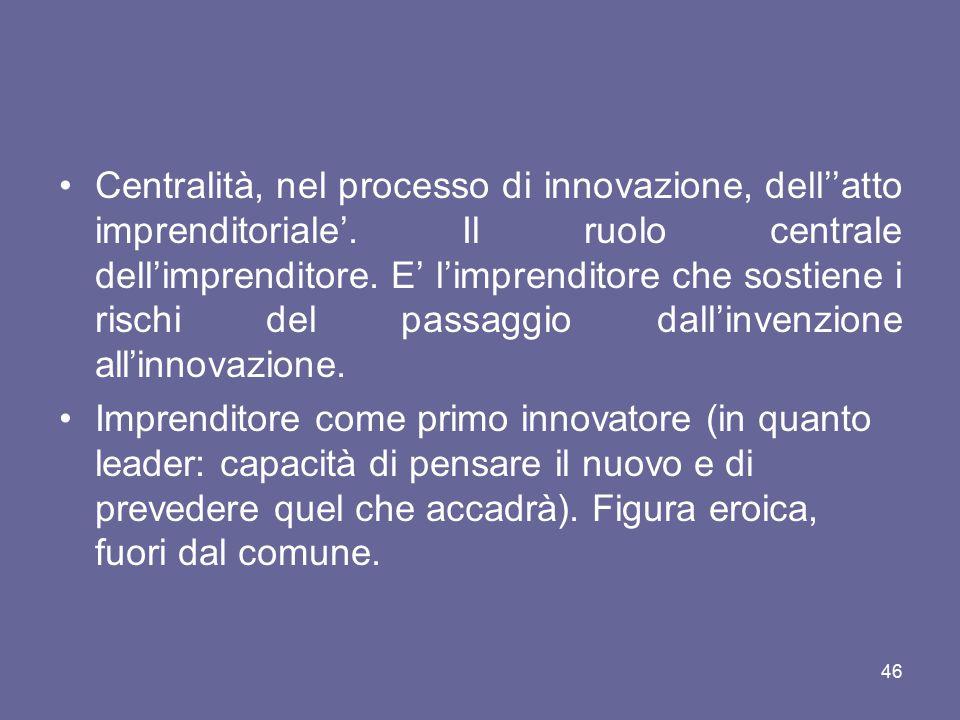Centralità, nel processo di innovazione, dell''atto imprenditoriale'