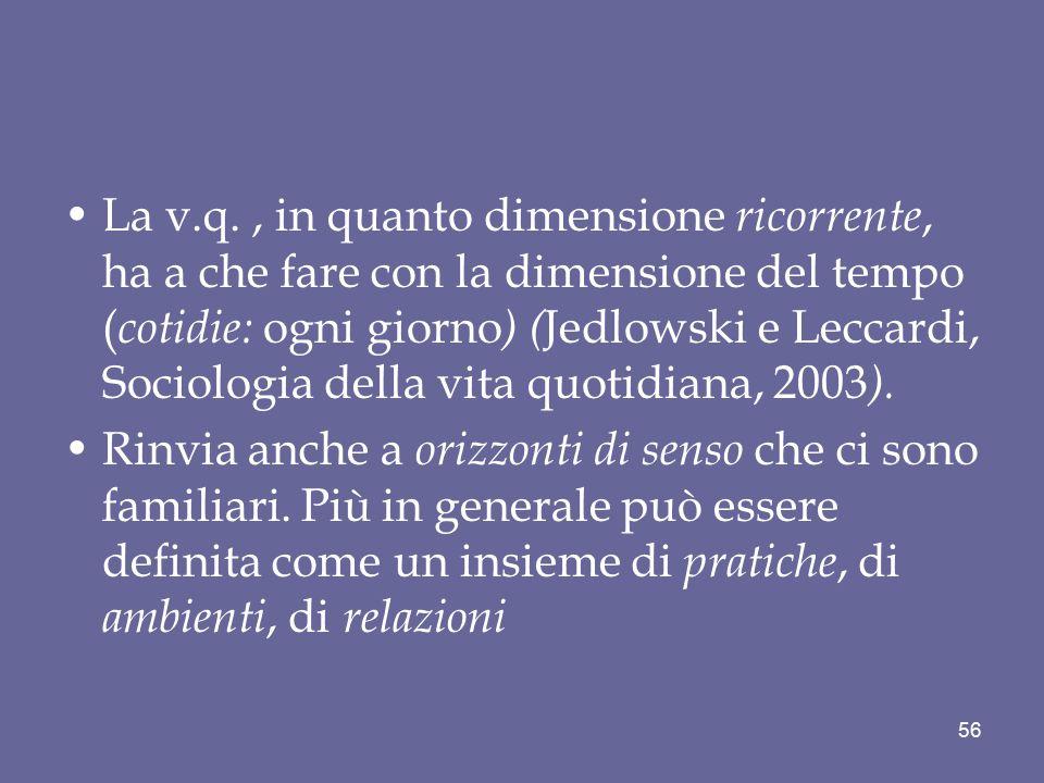 La v.q. , in quanto dimensione ricorrente, ha a che fare con la dimensione del tempo (cotidie: ogni giorno) (Jedlowski e Leccardi, Sociologia della vita quotidiana, 2003).