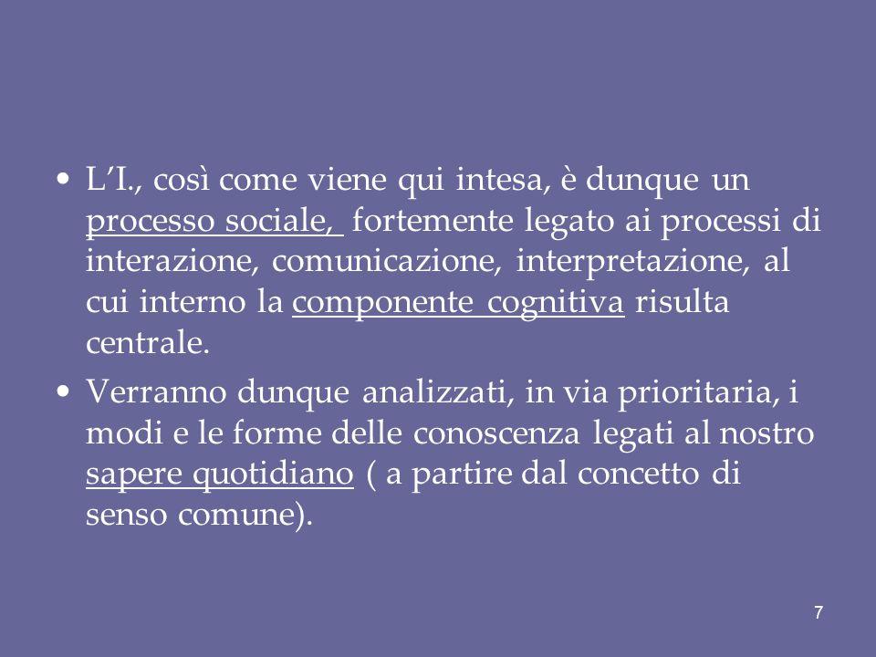 L'I., così come viene qui intesa, è dunque un processo sociale, fortemente legato ai processi di interazione, comunicazione, interpretazione, al cui interno la componente cognitiva risulta centrale.