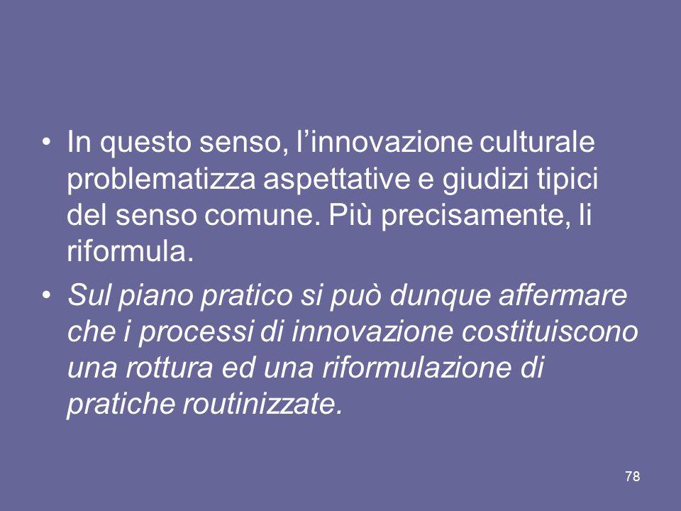 In questo senso, l'innovazione culturale problematizza aspettative e giudizi tipici del senso comune. Più precisamente, li riformula.