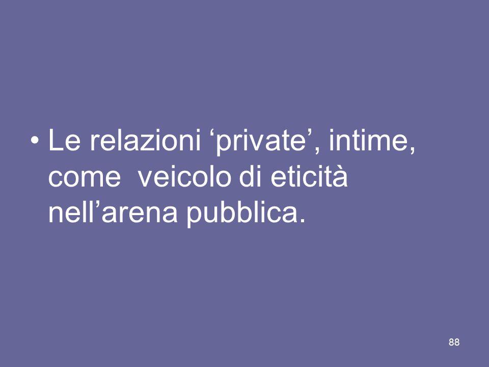 Le relazioni 'private', intime, come veicolo di eticità nell'arena pubblica.