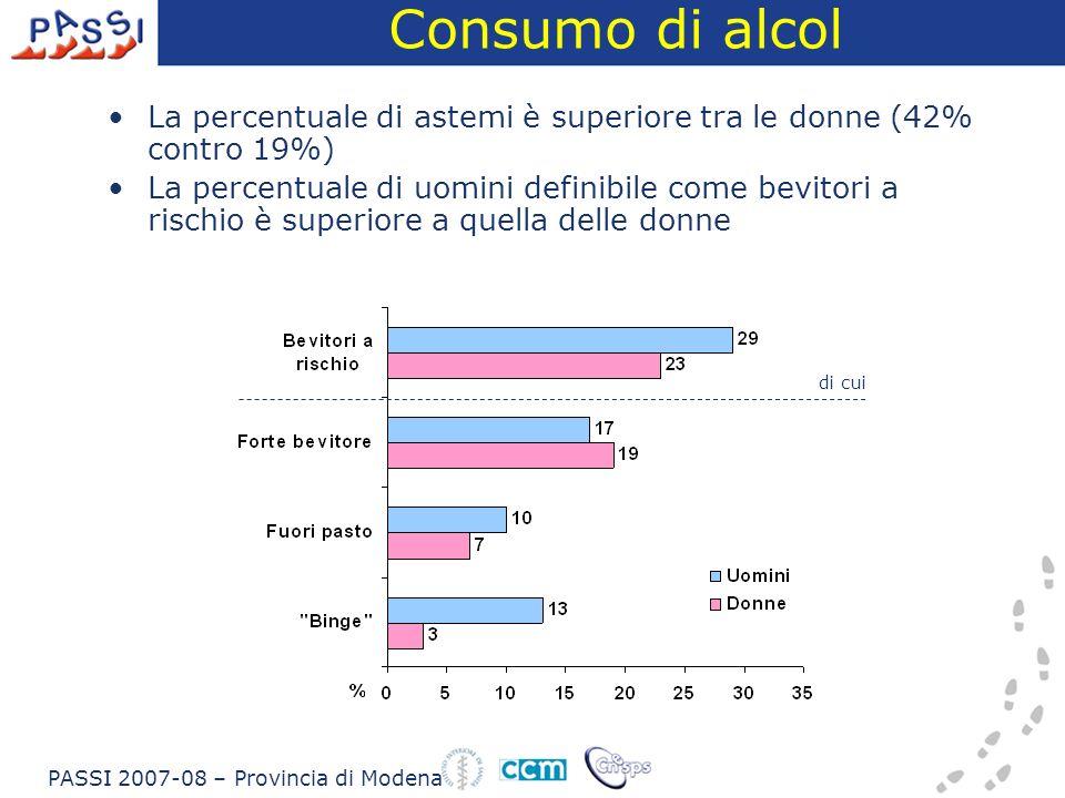 Consumo di alcol La percentuale di astemi è superiore tra le donne (42% contro 19%)