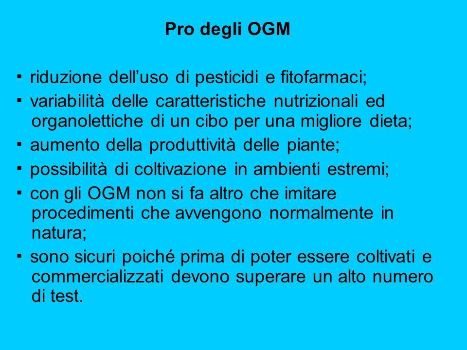 Pro degli OGM ▪ riduzione dell'uso di pesticidi e fitofarmaci;