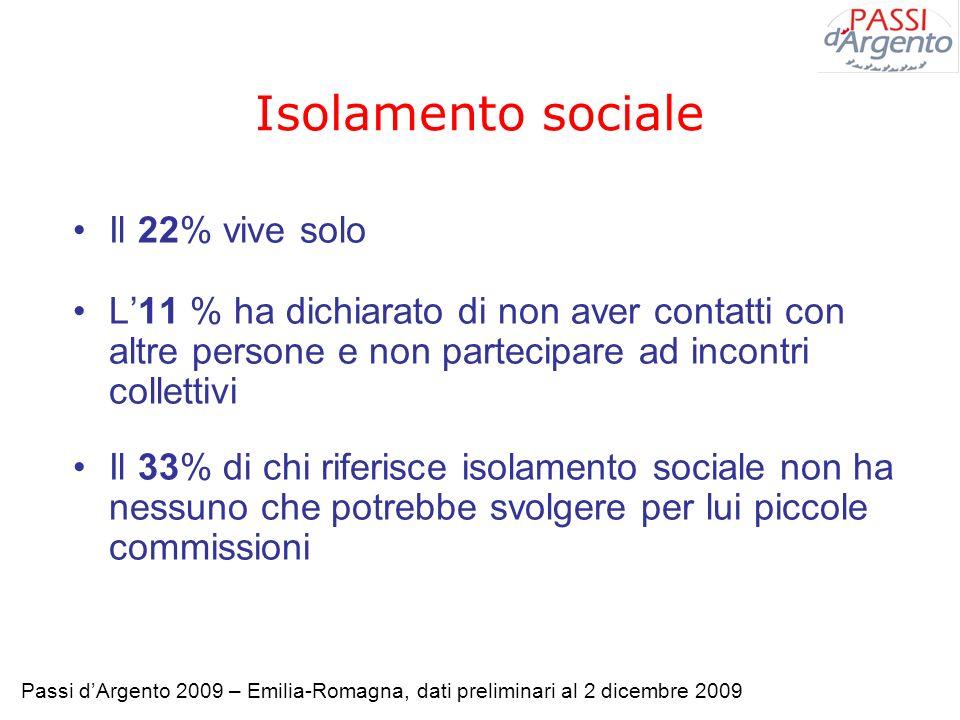 Isolamento sociale Il 22% vive solo
