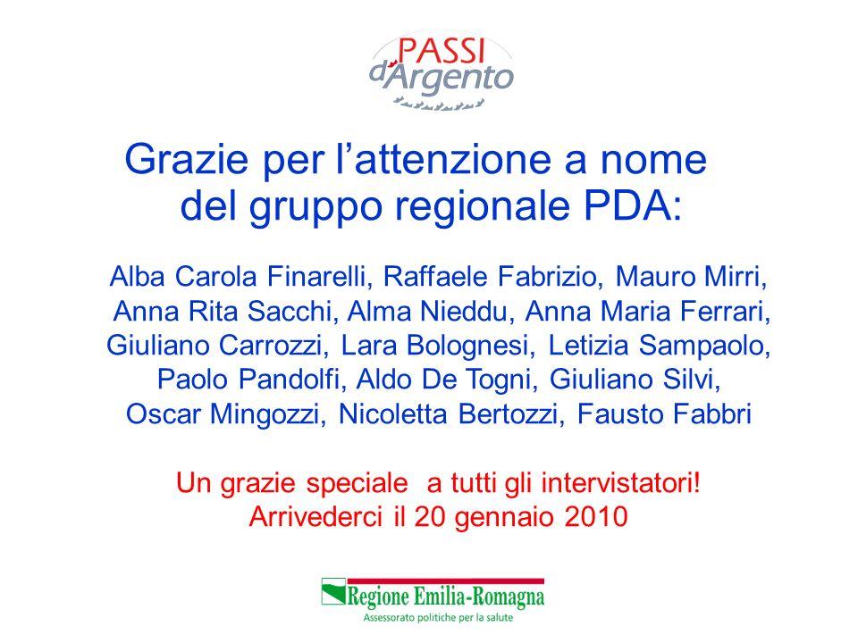 Grazie per l'attenzione a nome del gruppo regionale PDA: