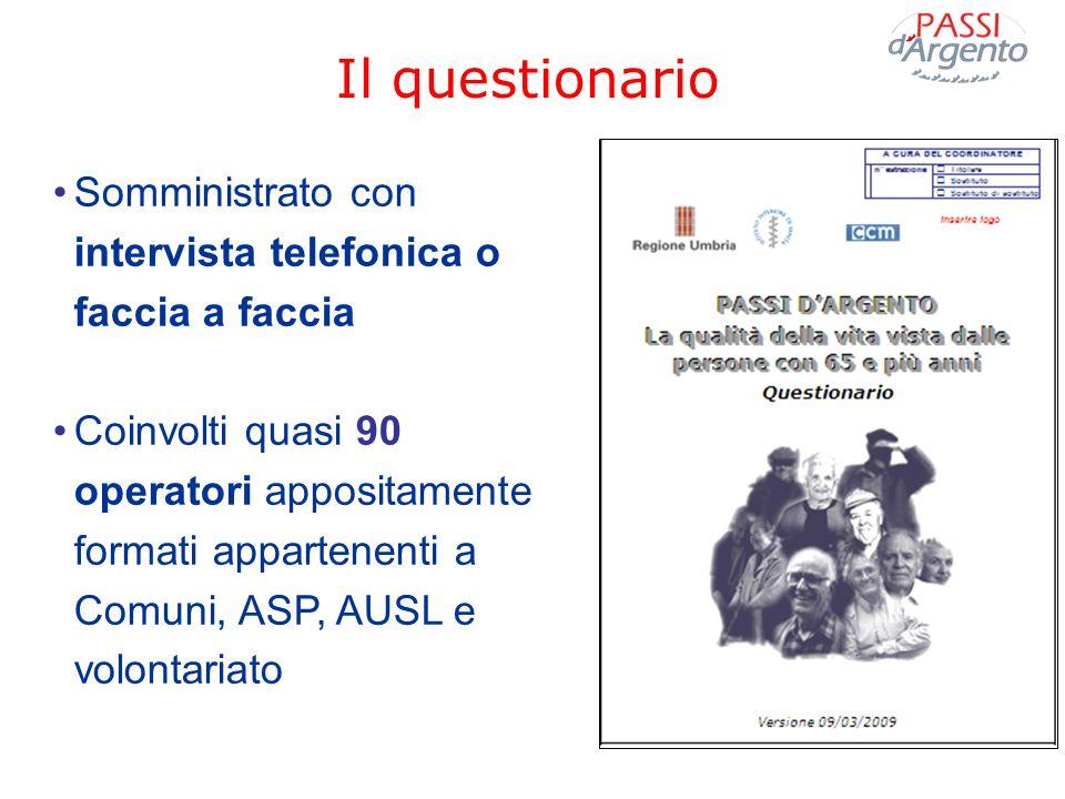 Il questionarioSomministrato con intervista telefonica o faccia a faccia.