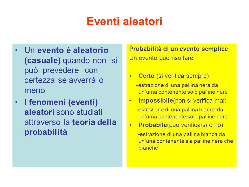 Eventi aleatori Un evento è aleatorio (casuale) quando non si può prevedere con certezza se avverrà o meno.