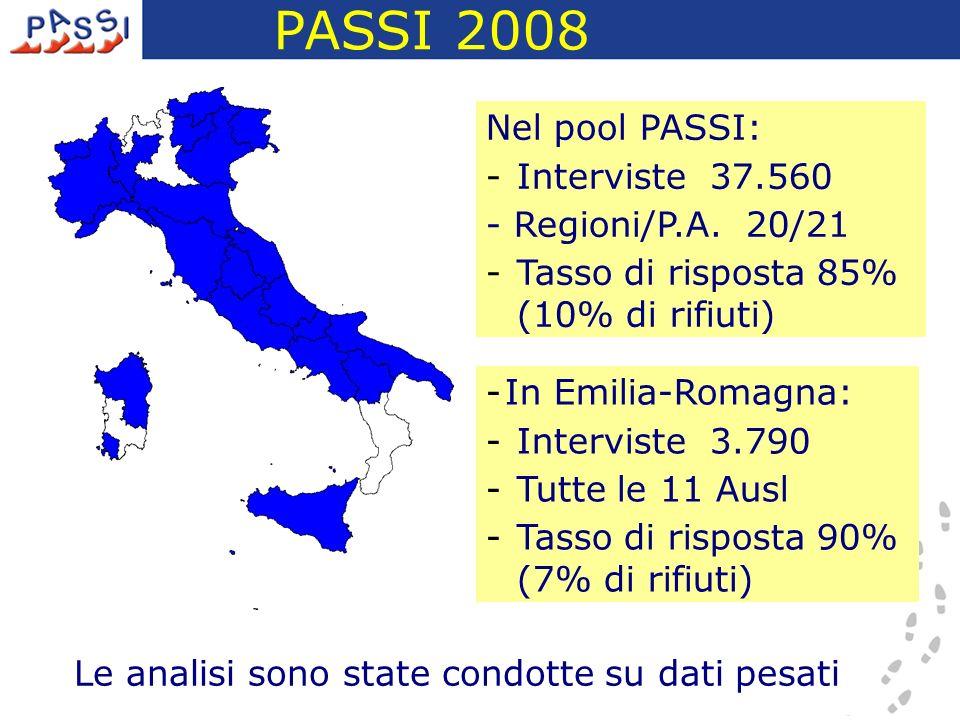 PASSI 2008 Nel pool PASSI: Interviste 37.560 - Regioni/P.A. 20/21