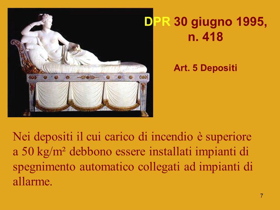 DPR 30 giugno 1995, n. 418 Art. 5 Depositi.
