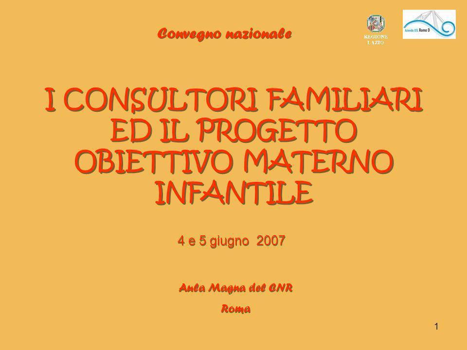 I CONSULTORI FAMILIARI ED IL PROGETTO OBIETTIVO MATERNO INFANTILE