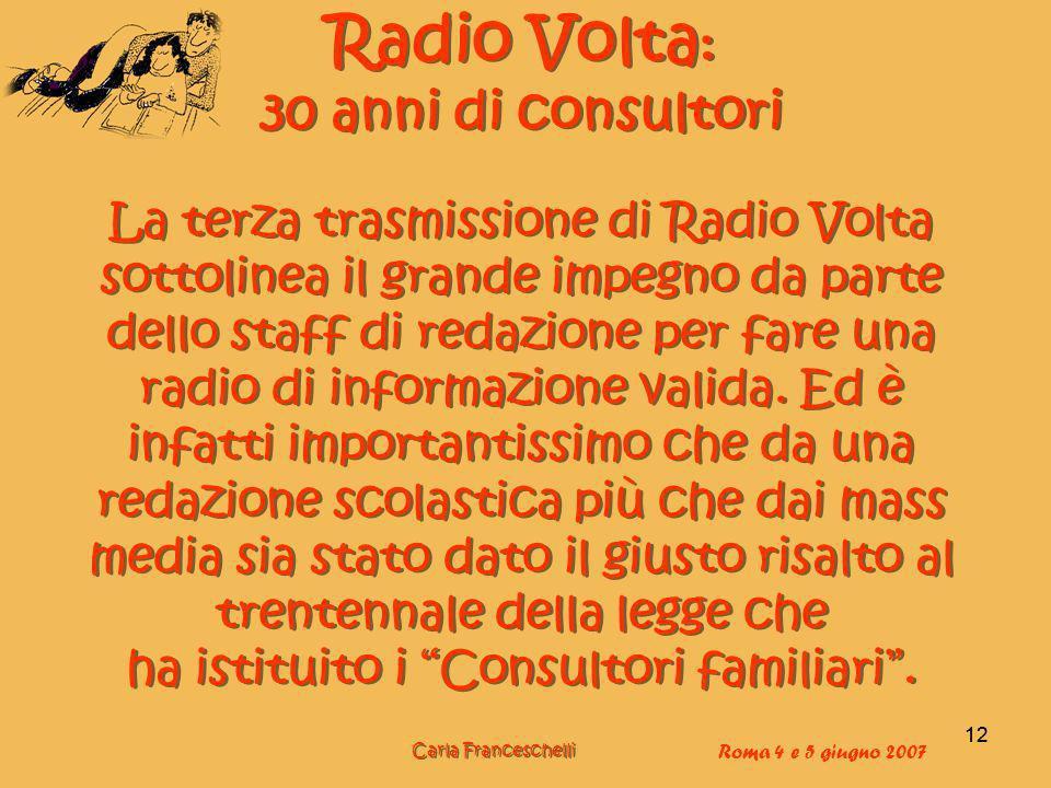 Radio Volta: 30 anni di consultori