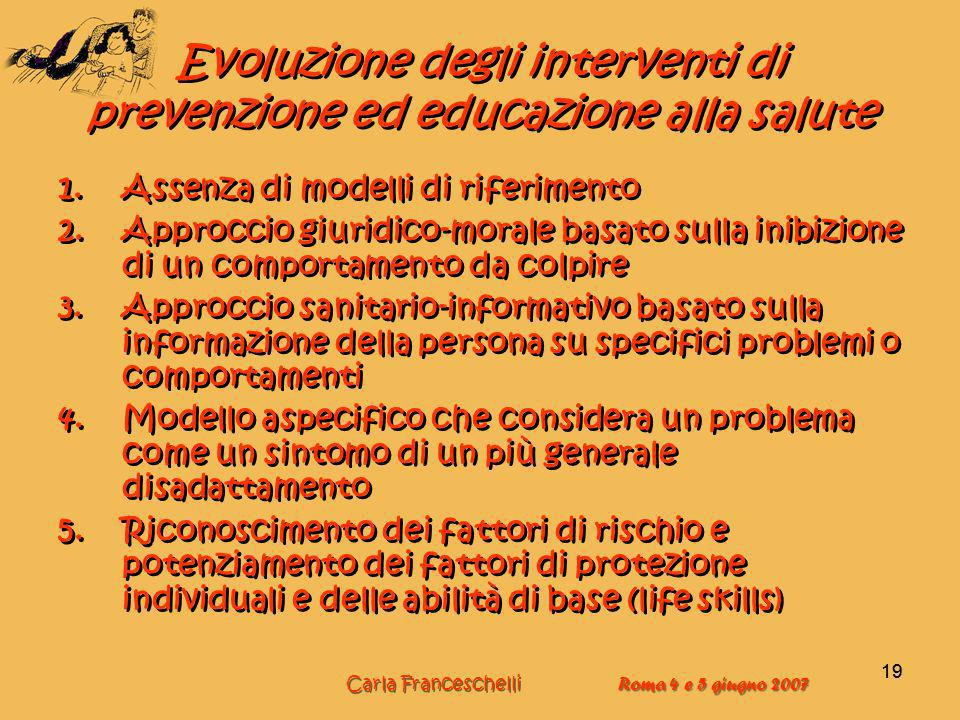 Evoluzione degli interventi di prevenzione ed educazione alla salute