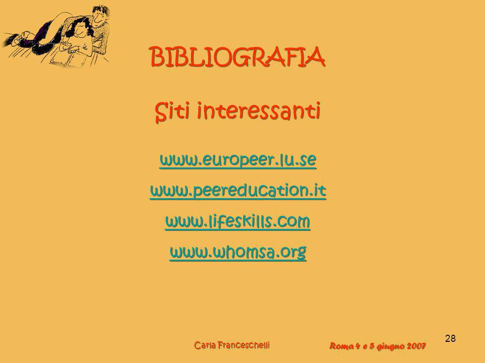 BIBLIOGRAFIA Siti interessanti www.europeer.lu.se www.peereducation.it