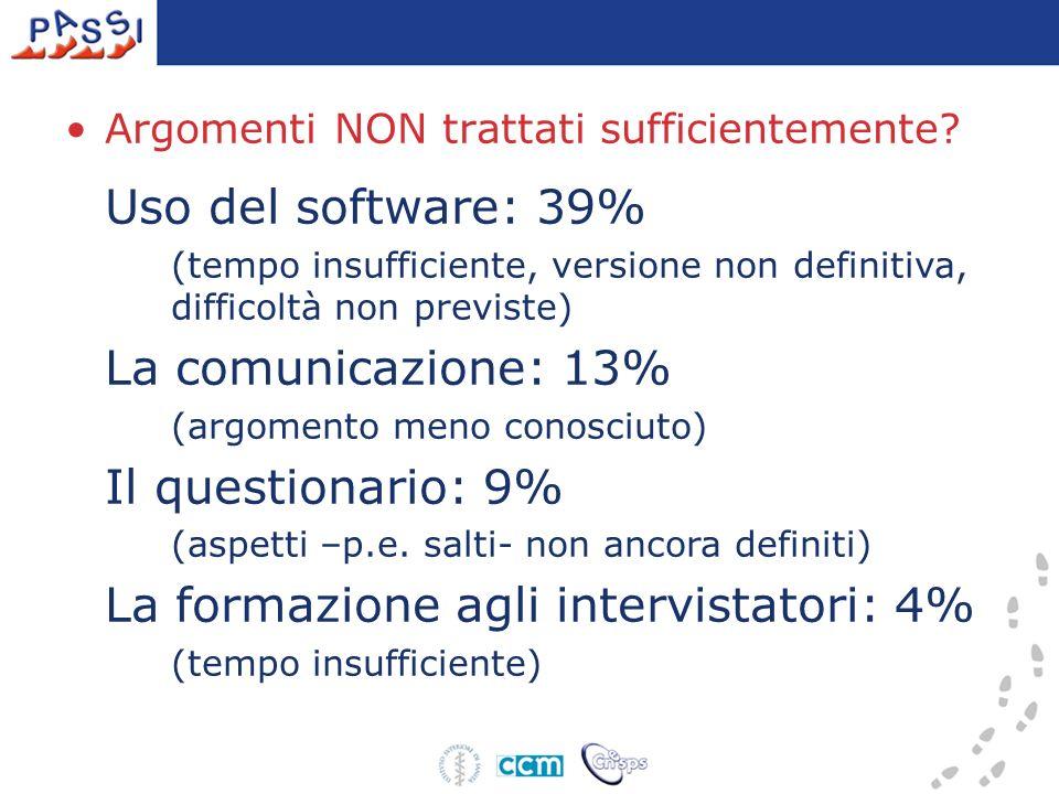 La comunicazione: 13% Argomenti NON trattati sufficientemente