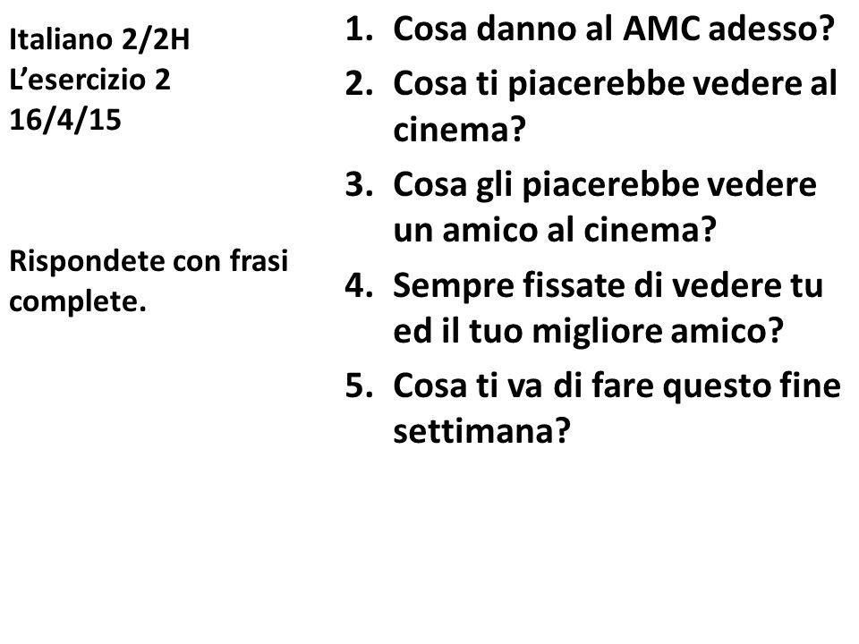 Italiano 2/2H L'esercizio 2 16/4/15