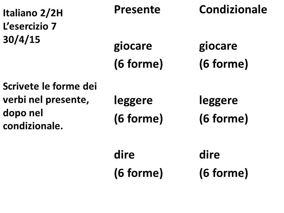 Italiano 2/2H L'esercizio 7 30/4/15