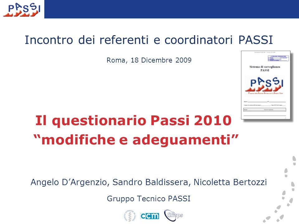 Incontro dei referenti e coordinatori PASSI Roma, 18 Dicembre 2009