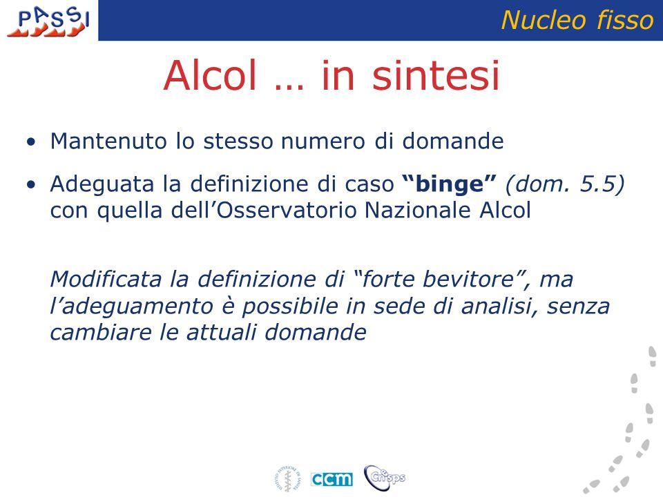 Alcol … in sintesi Nucleo fisso Mantenuto lo stesso numero di domande