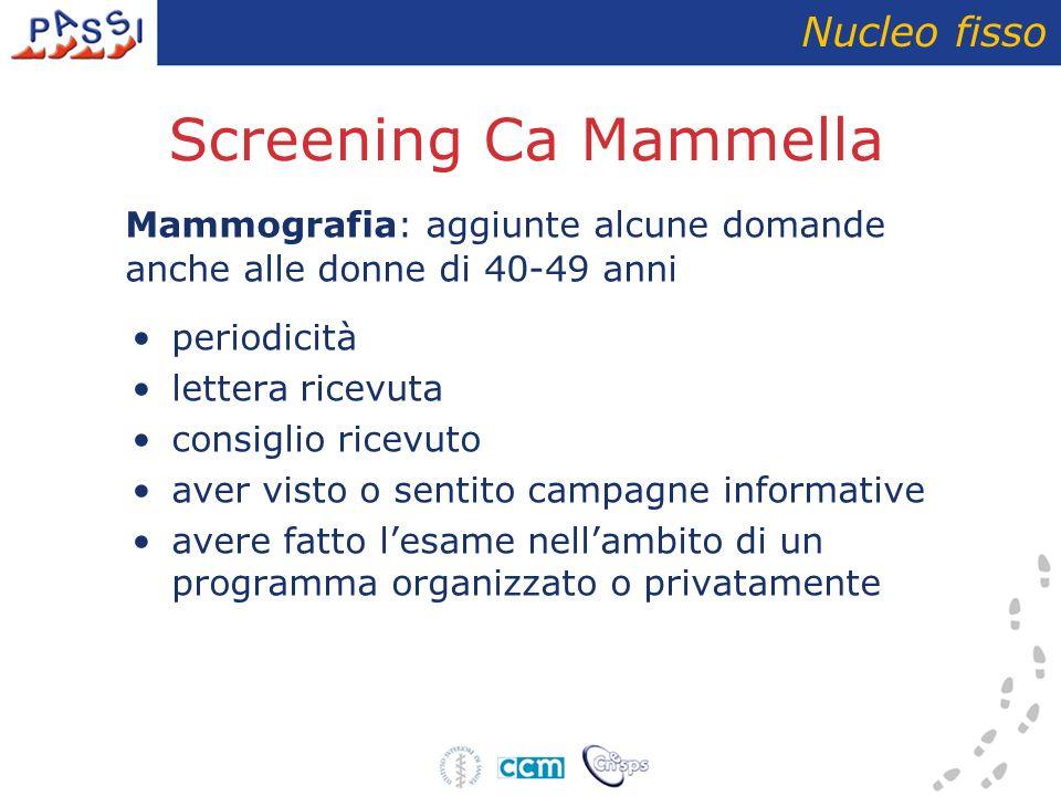 Screening Ca Mammella Nucleo fisso