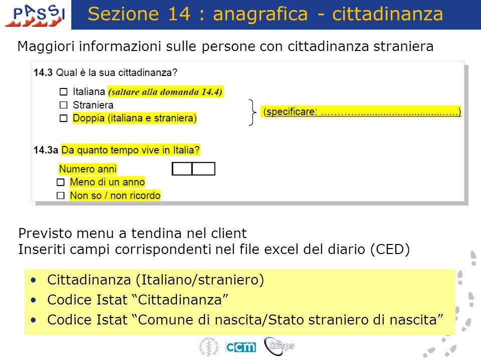 Sezione 14 : anagrafica - cittadinanza
