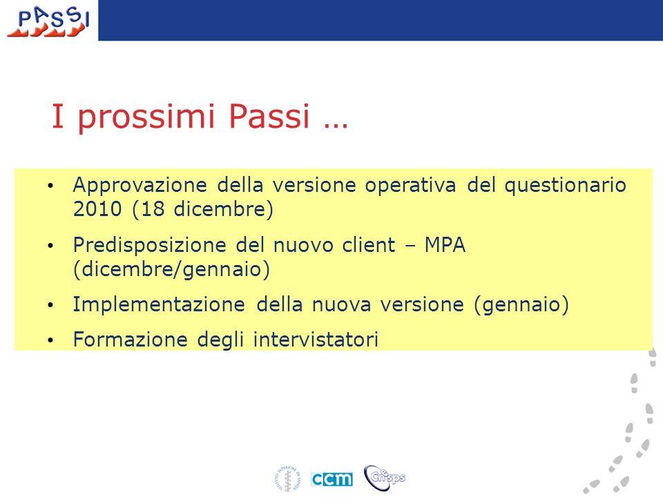 I prossimi Passi … Approvazione della versione operativa del questionario 2010 (18 dicembre)