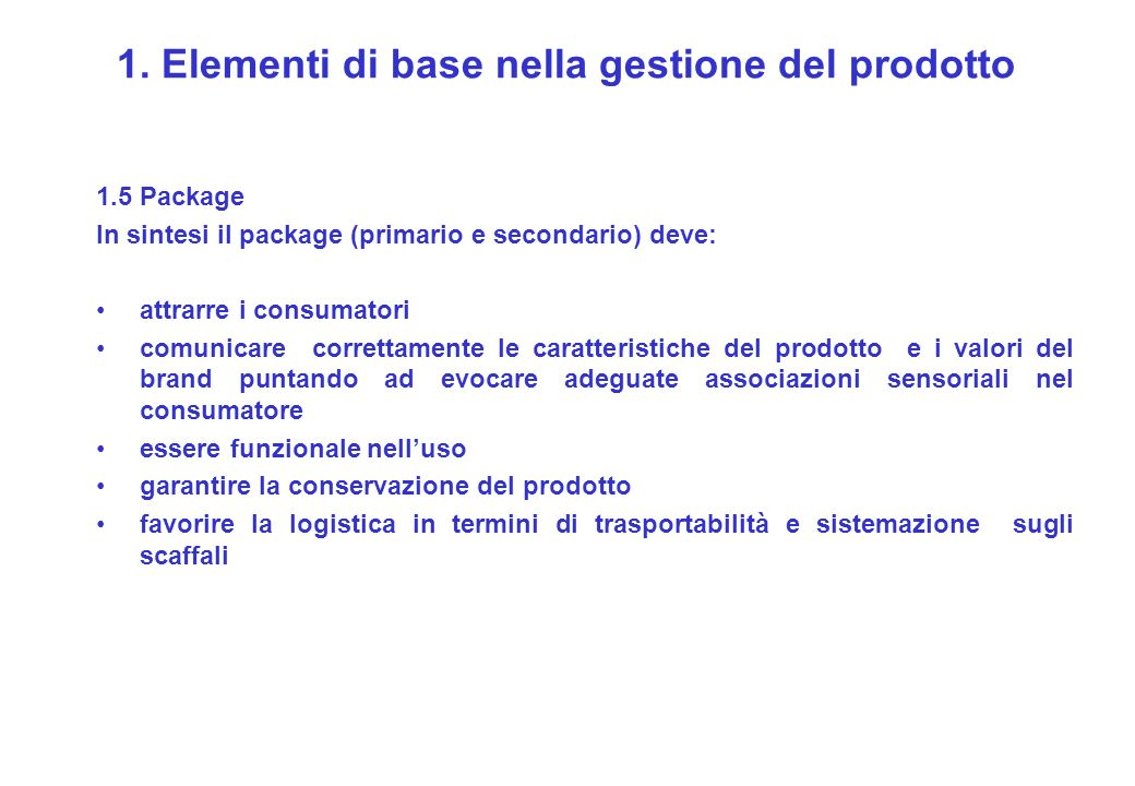 1. Elementi di base nella gestione del prodotto