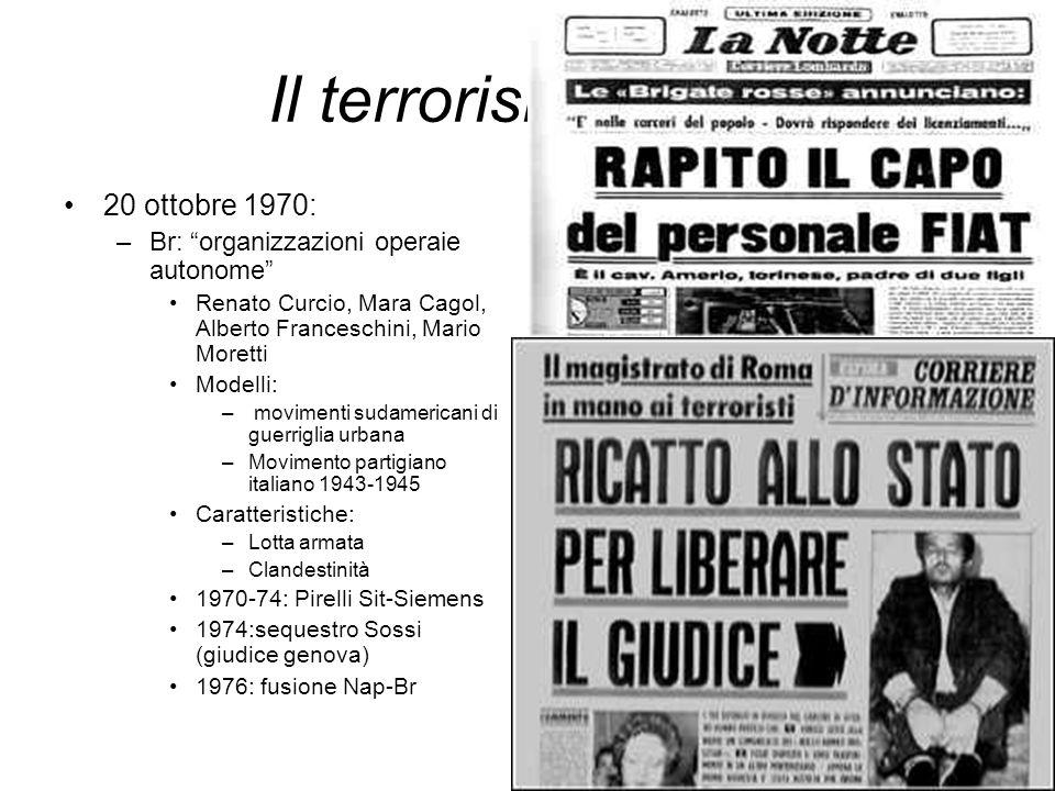 Il terrorismo rosso 20 ottobre 1970: