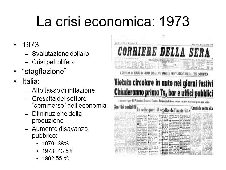 La crisi economica: 1973 1973: stagflazione Italia: