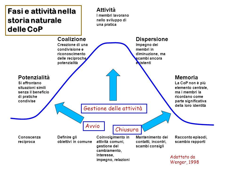 Fasi e attività nella storia naturale delle CoP