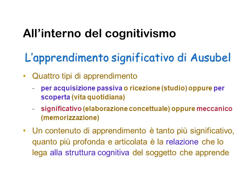 All'interno del cognitivismo