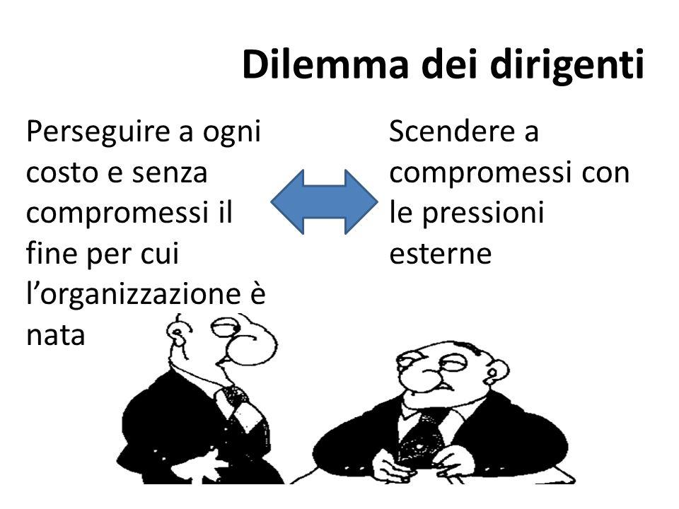 Dilemma dei dirigenti Perseguire a ogni costo e senza compromessi il fine per cui l'organizzazione è nata.
