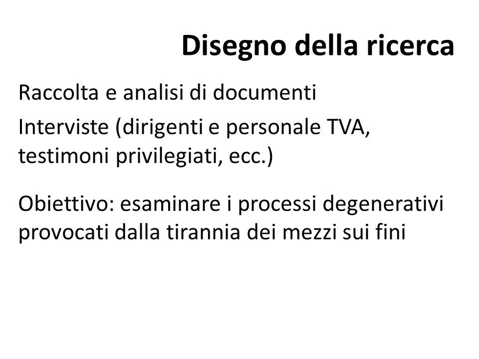 Disegno della ricerca Raccolta e analisi di documenti
