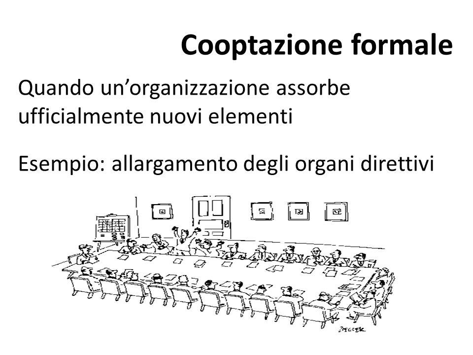 Cooptazione formale Quando un'organizzazione assorbe ufficialmente nuovi elementi.