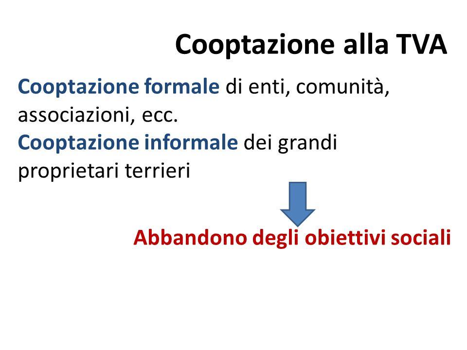 Cooptazione alla TVA Cooptazione formale di enti, comunità, associazioni, ecc. Cooptazione informale dei grandi.
