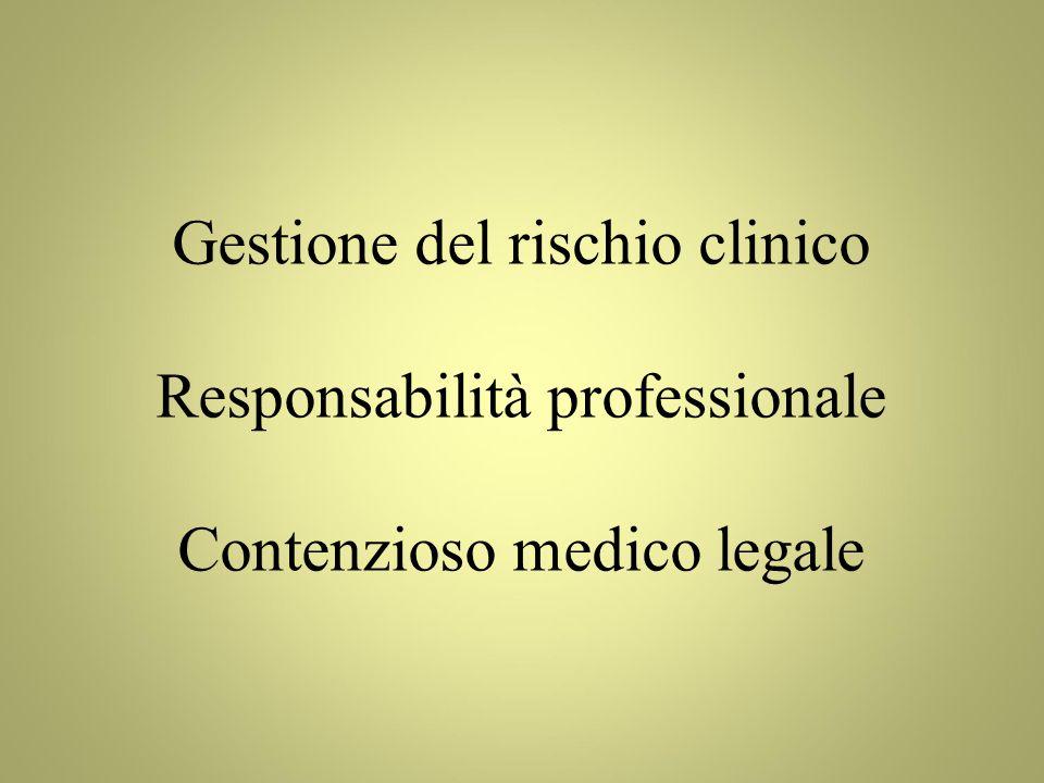 Gestione del rischio clinico Responsabilità professionale
