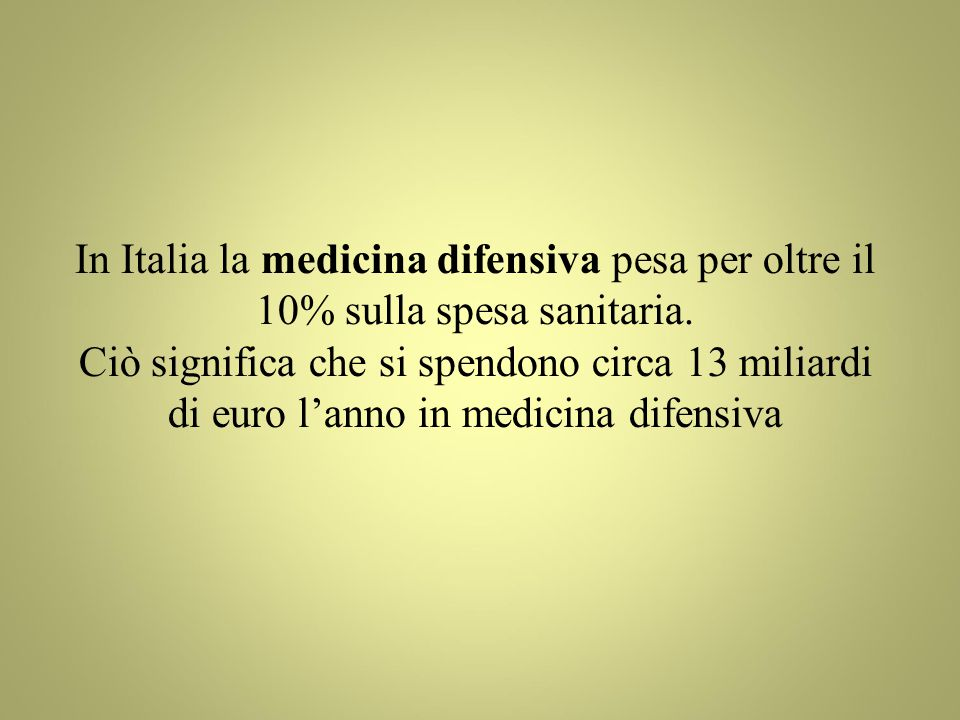 In Italia la medicina difensiva pesa per oltre il 10% sulla spesa sanitaria.