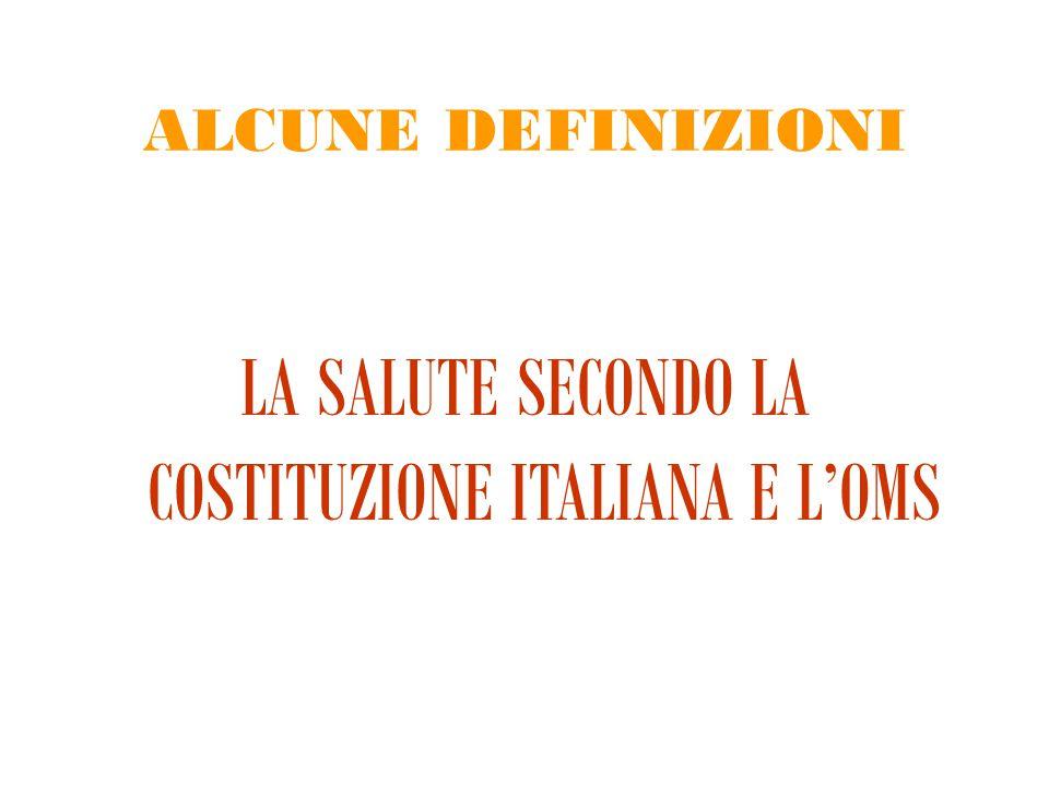 LA SALUTE SECONDO LA COSTITUZIONE ITALIANA E L'OMS