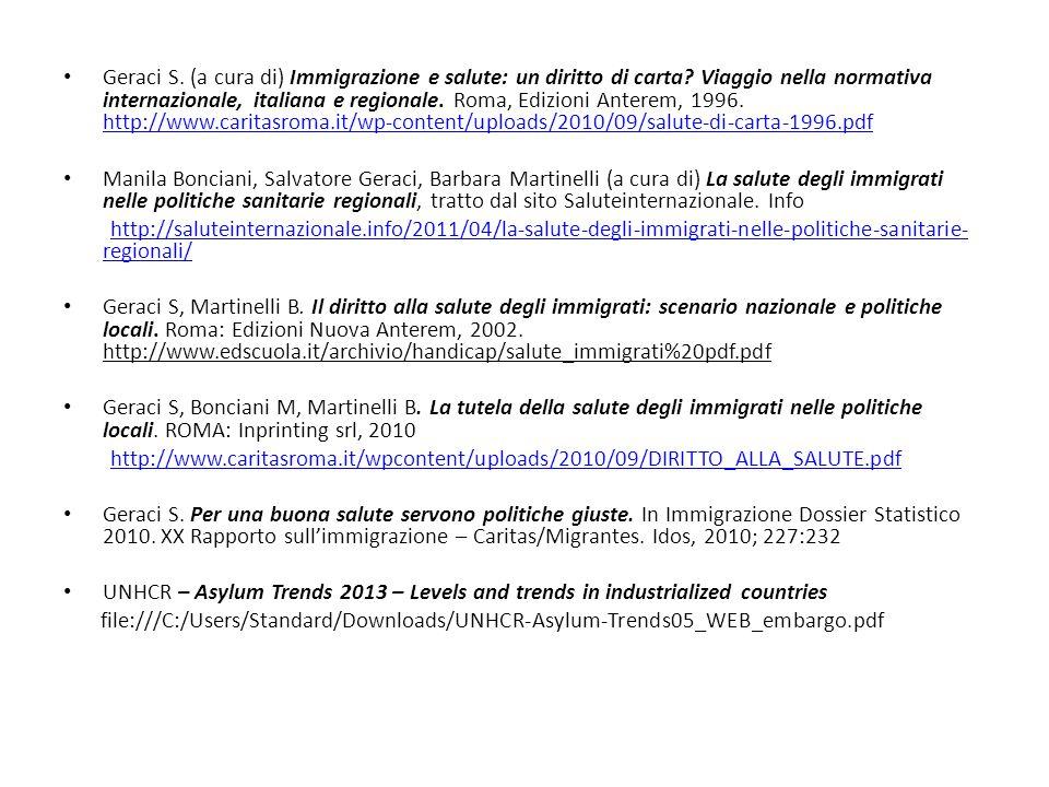 Geraci S. (a cura di) Immigrazione e salute: un diritto di carta