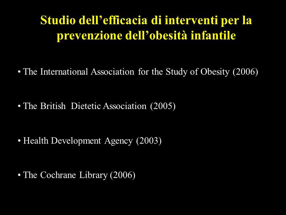 Studio dell'efficacia di interventi per la prevenzione dell'obesità infantile