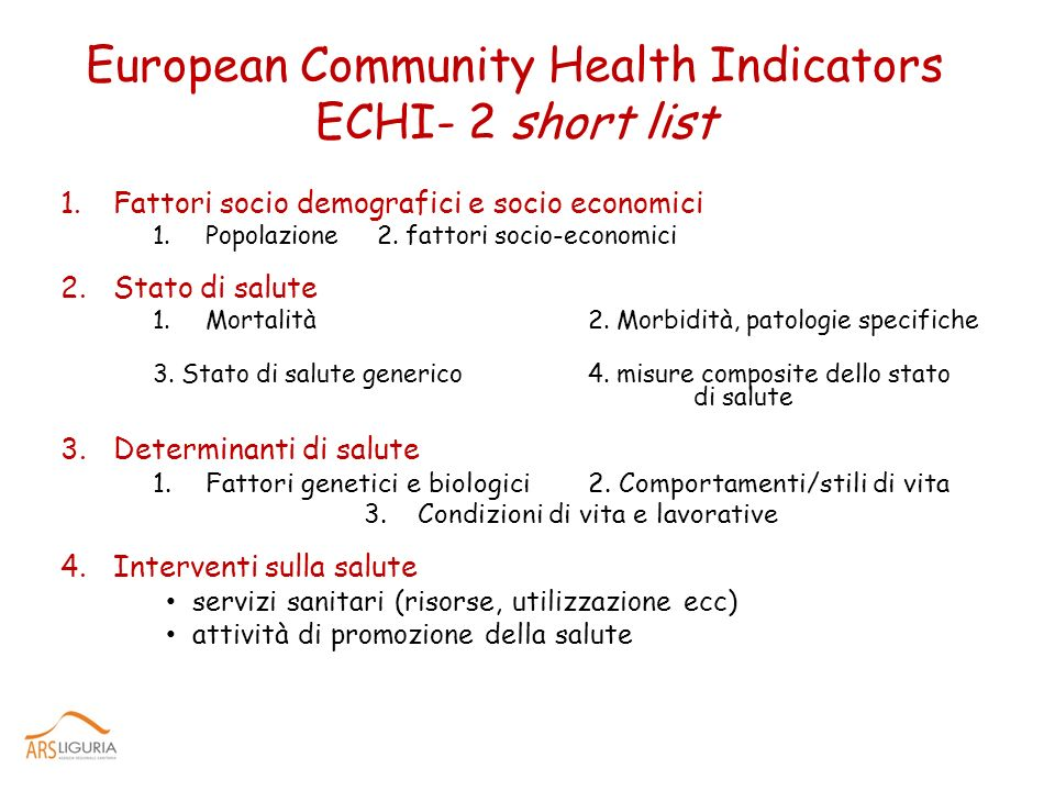 European Community Health Indicators ECHI- 2 short list