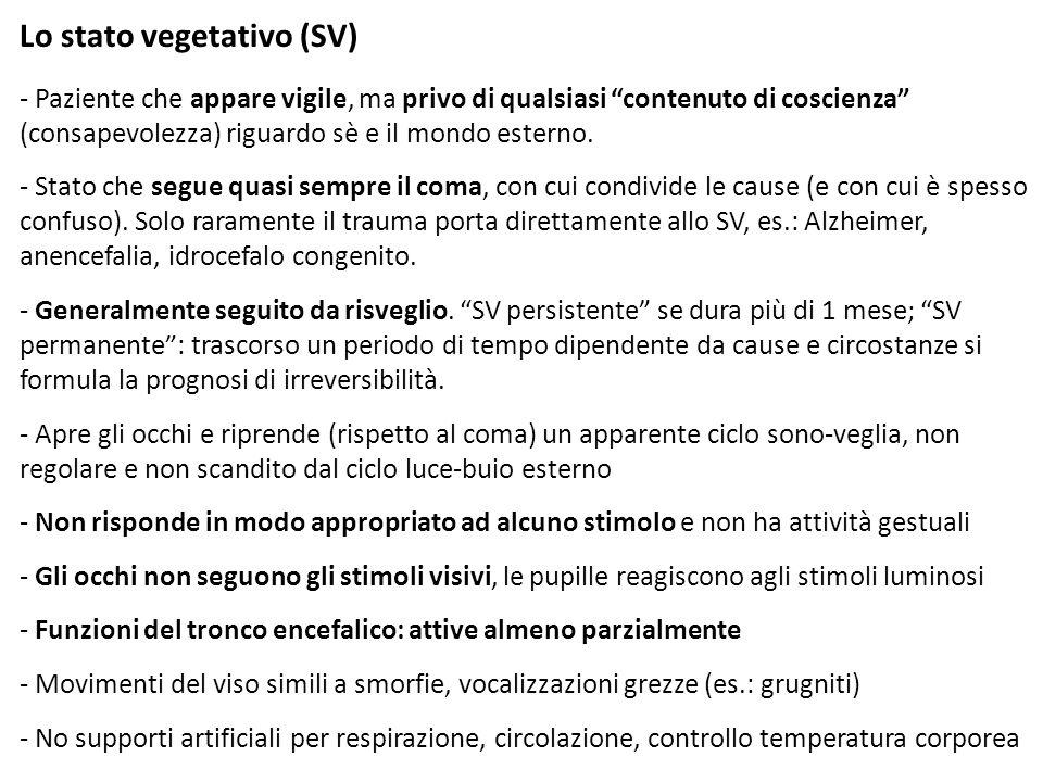 Lo stato vegetativo (SV)