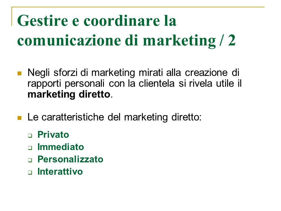 Gestire e coordinare la comunicazione di marketing / 2