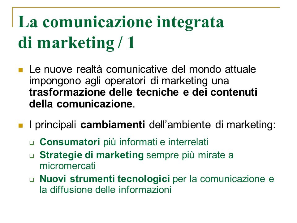 La comunicazione integrata di marketing / 1