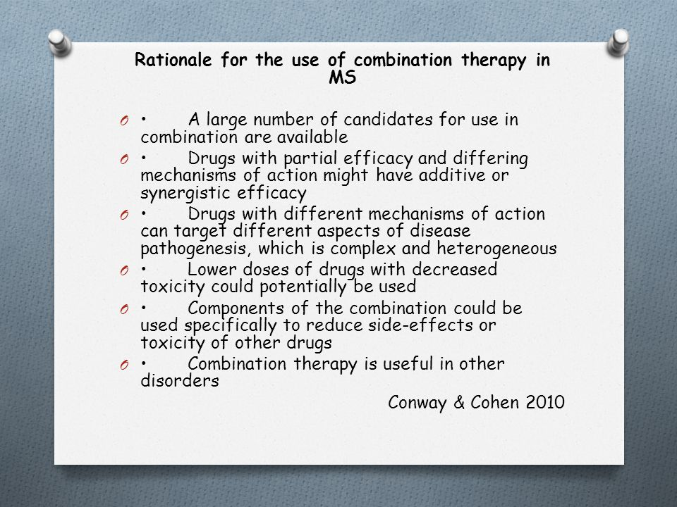 Rationale for the use of combination therapy in MS