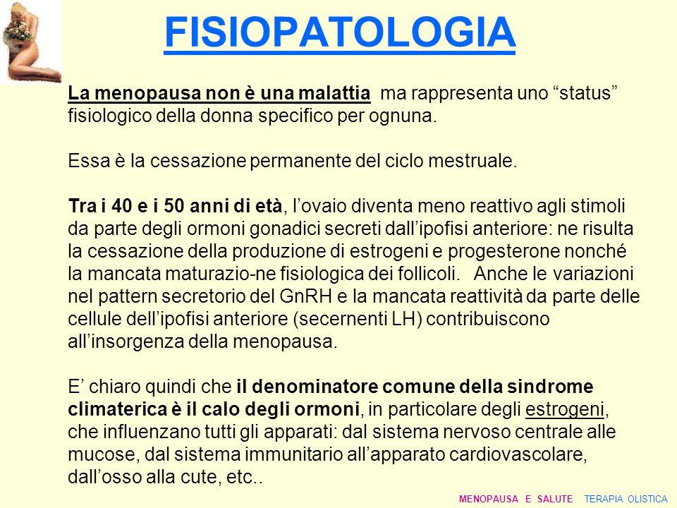 FISIOPATOLOGIA La menopausa non è una malattia ma rappresenta uno status fisiologico della donna specifico per ognuna.