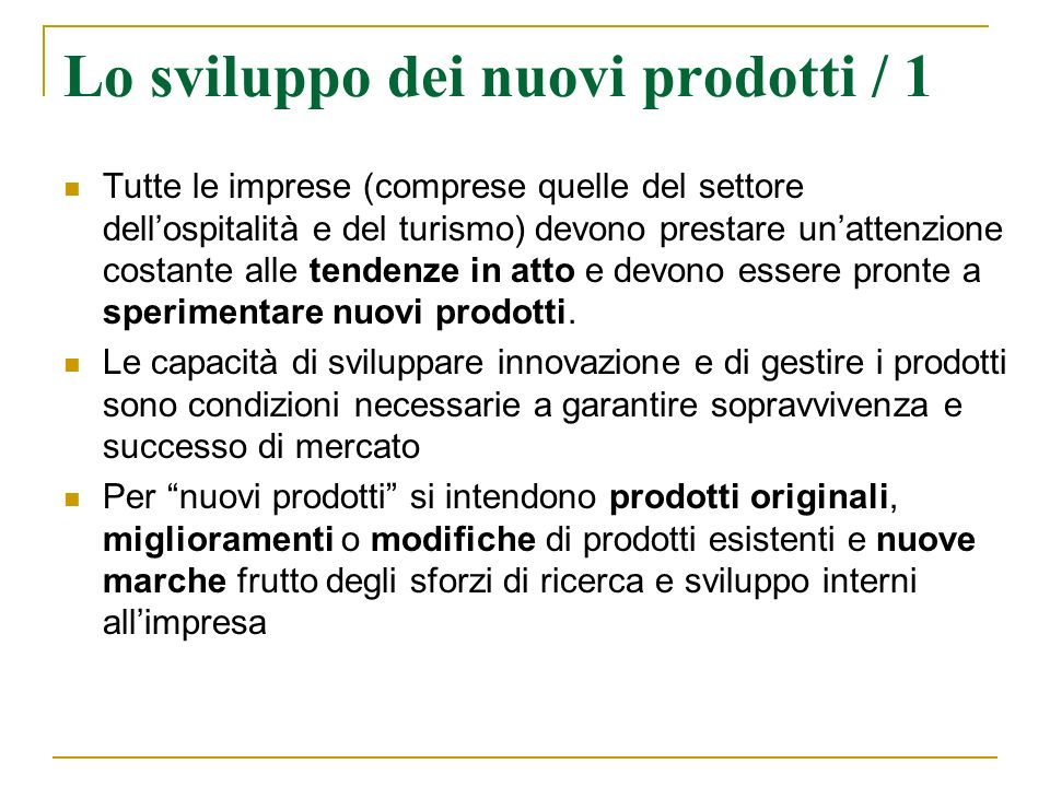 Lo sviluppo dei nuovi prodotti / 1